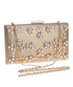 Bolsa de noche de noche con imitación perlas