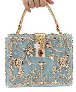 Bolsa de noche estilo clutch elegante diseño cuadrado con pedrería