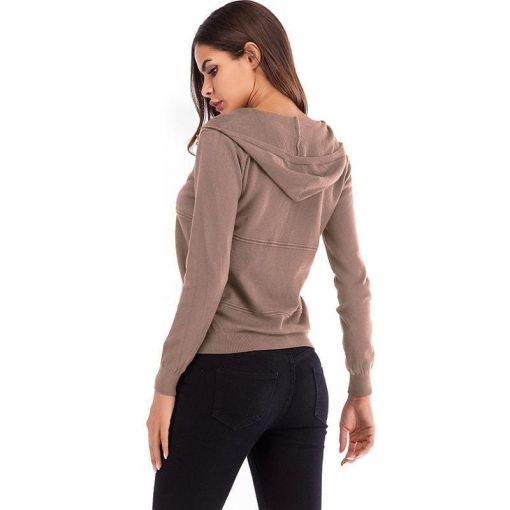 Chamarra con cremallera de manga larga con diseño clásico casual para mujer