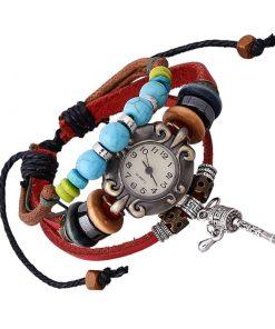 Reloj de pulsera con rueda de oración retro colgante y cuentas de madera