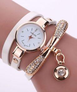 Reloj de pulsera de cuarzo con diamantes de imitación casual para mujer