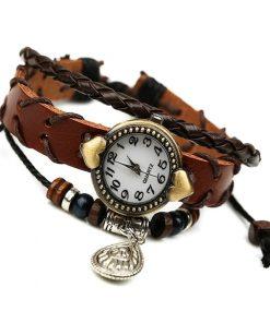 Reloj de pulsera de cuero con colgante de gota de agua retro