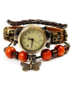 Reloj de pulsera de cuero con cuentas de madera con colgante de mariposa retro
