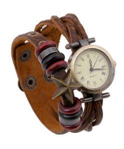 Reloj de pulsera de cuero con cuentas de madera y colgante de estrella de mar