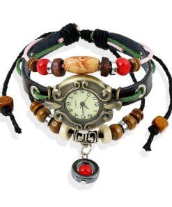 Reloj de pulsera de cuero de múltiples capas con dije de bola roja