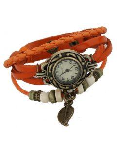 Reloj de pulsera de cuero multicapa colgante de cuentas de madera colgante de hoja retro