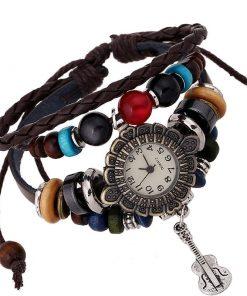 Reloj de pulsera de cuero multicapa con cuentas de madera y colgante retro