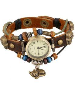 Reloj de pulsera de cuero multicapa de cuentas de madera con colgante de gato vintage