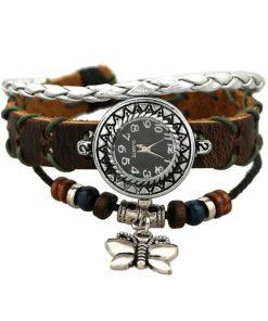 Reloj de pulsera de cuero multicapa de cuentas de madera con dije de mariposa retro