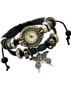 Reloj de pulsera de mujer de múltiples capas de cuero trenzado con mariposa de moda