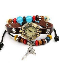 Reloj de pulsera de múltiples capas con cuentas de rueda de oración vintage