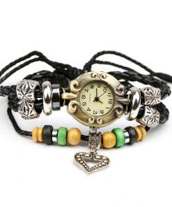 Reloj de pulsera de múltiples capas de cuero con colgante de corazón retro, cuentas de madera