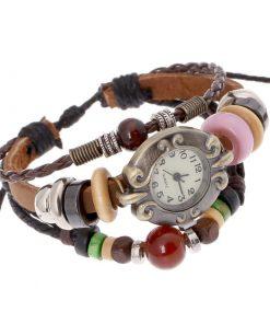 Reloj de pulsera multicapa de cuero con cuentas de madera retro