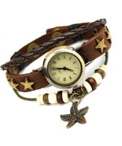Reloj de pulsera multicapa de cuero con cuentas y colgante Starfish exclusivo